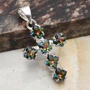 Mystic Topaz Silver Cross Pendant